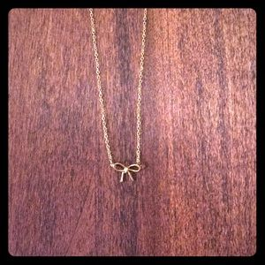 Anthropologie Gold Bow Charm Necklace